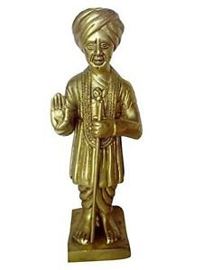 Unique Brass Hinduism Statue Shree Jalaram Bapa Fine Carving Work India/Asia