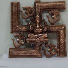 Unique Black Metal Swastika Ganesha Wall Hanging Handmade Art India/Asia
