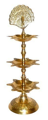Brass Peacock Divi 3 Step Medium Statue Collectible by Vedic Vaani