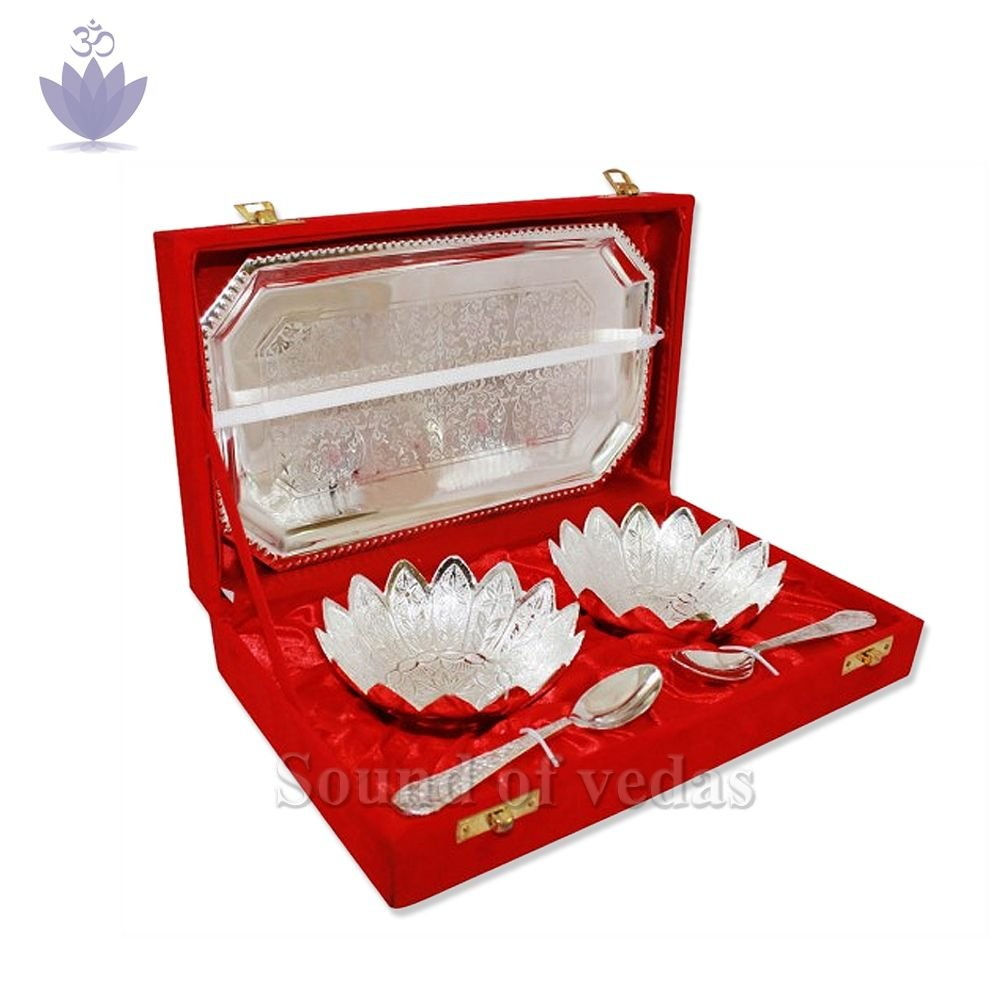 Pooja Tray Bowls Spoons Set in German Silver