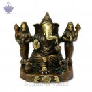 Lord Ganesha with Riddhi Siddhi Brass Statue
