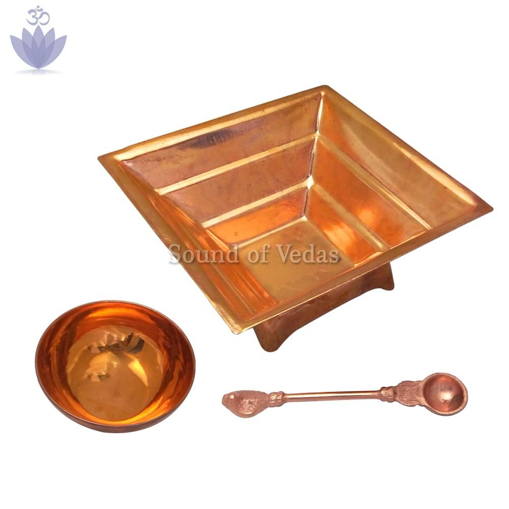 Havan Kund with Bowl and Panchpatra in Copper