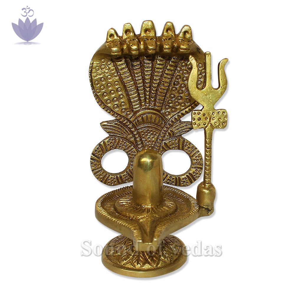 Brass Shivling with 5 Head Snake in Brass Metal