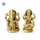Lakshmi and Ganesha Brass Figurine