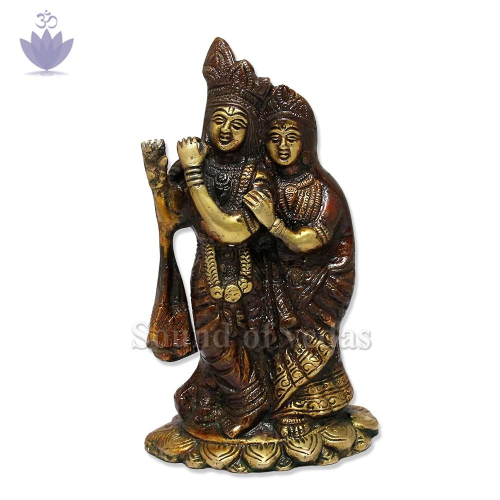 Goddess Radha Krishna Idol in Brass