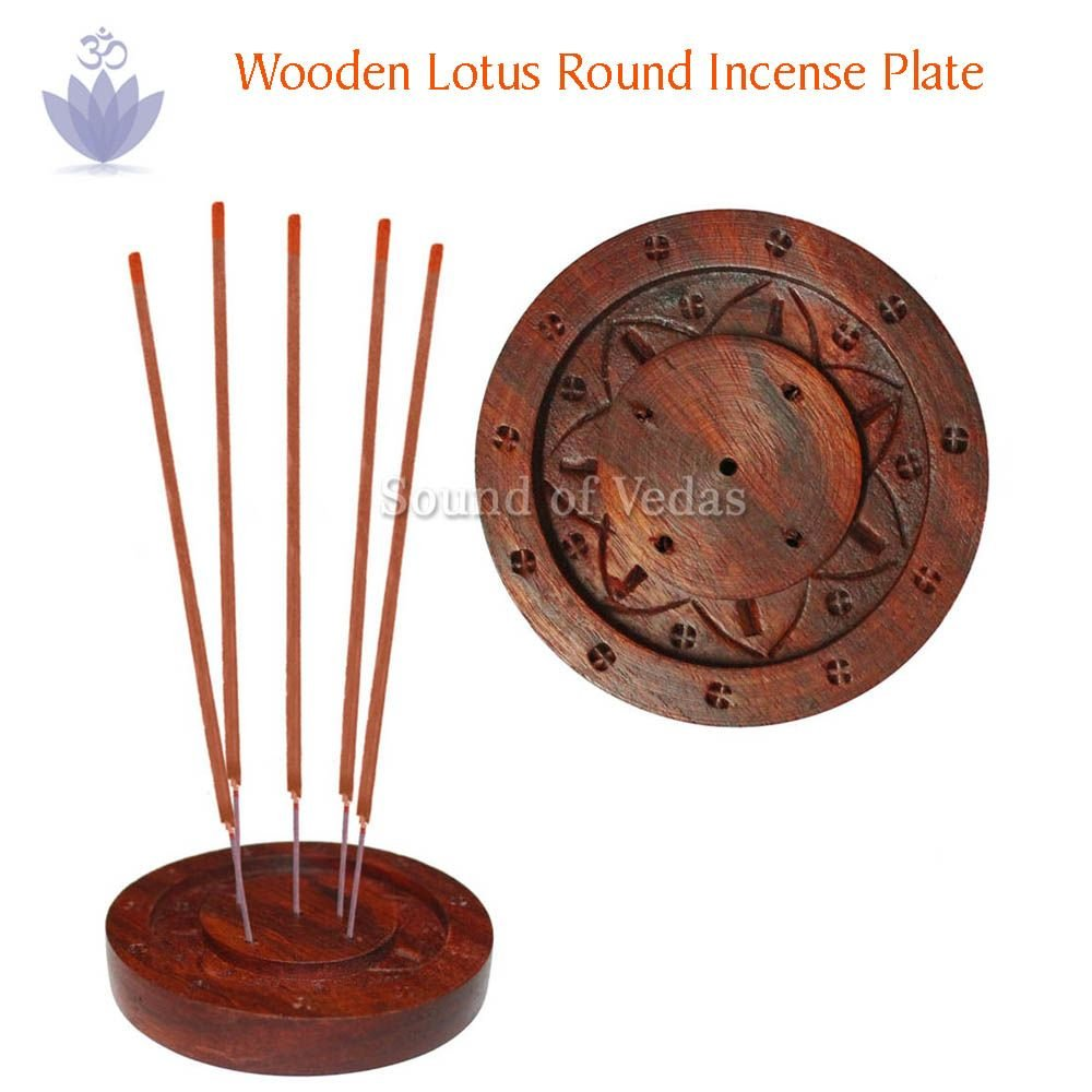 Wooden Lotus Round Incense Plate