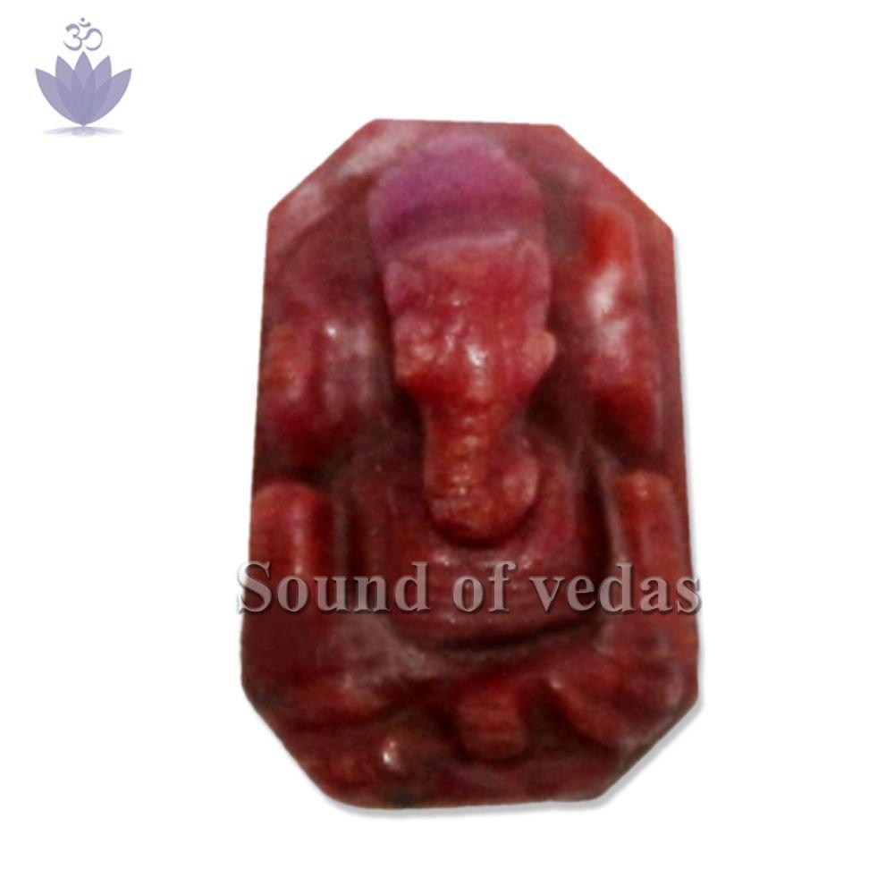 Small Ganesh in Ruby Gemstone - 17 Carat