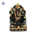 Lord Ganesha Idol in Blue Sapphire Gemstone