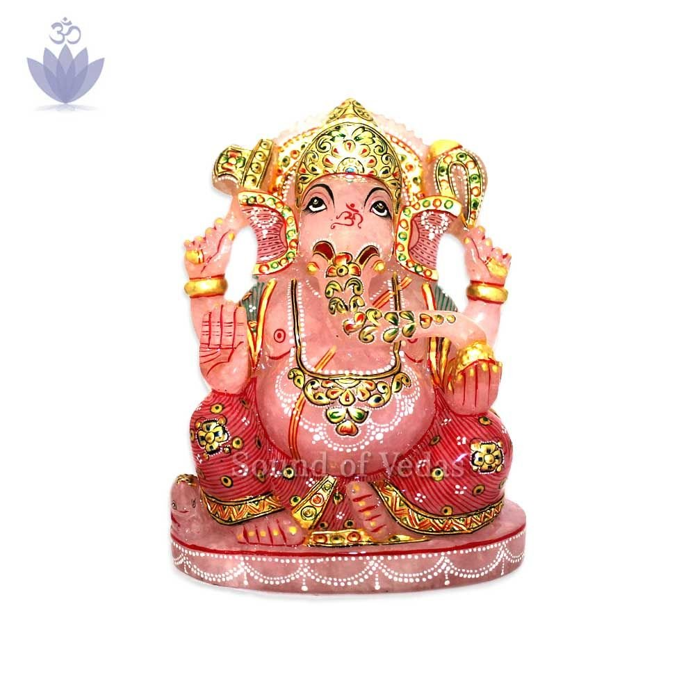 Handcrafted Ganesha Idol in Quartz Gemstone