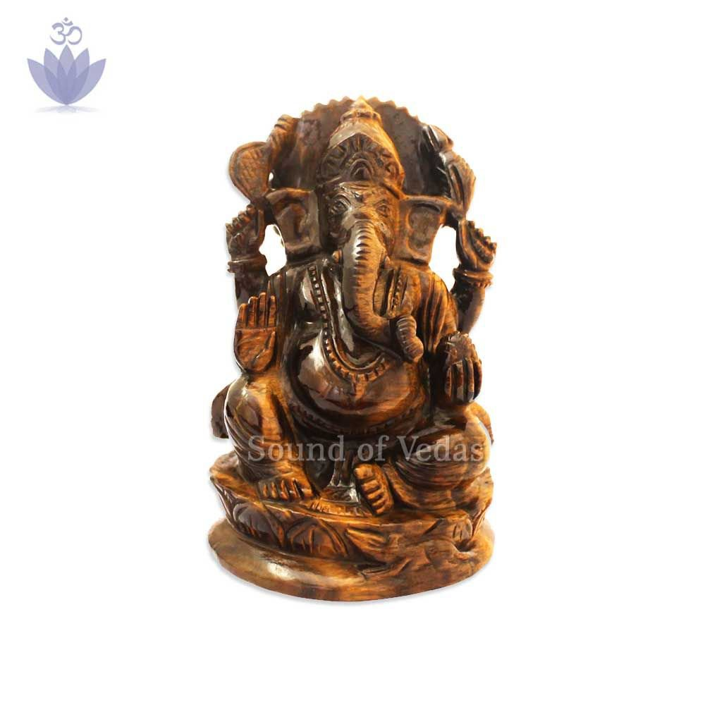 Ekadantaya Ganesh Idol in Tiger Eye Gemstone