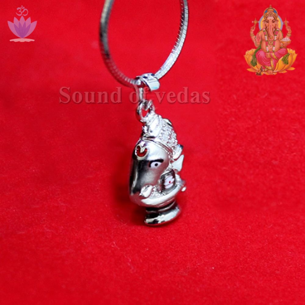 Ganesha Shivling Locket in Pure Silver Pendent