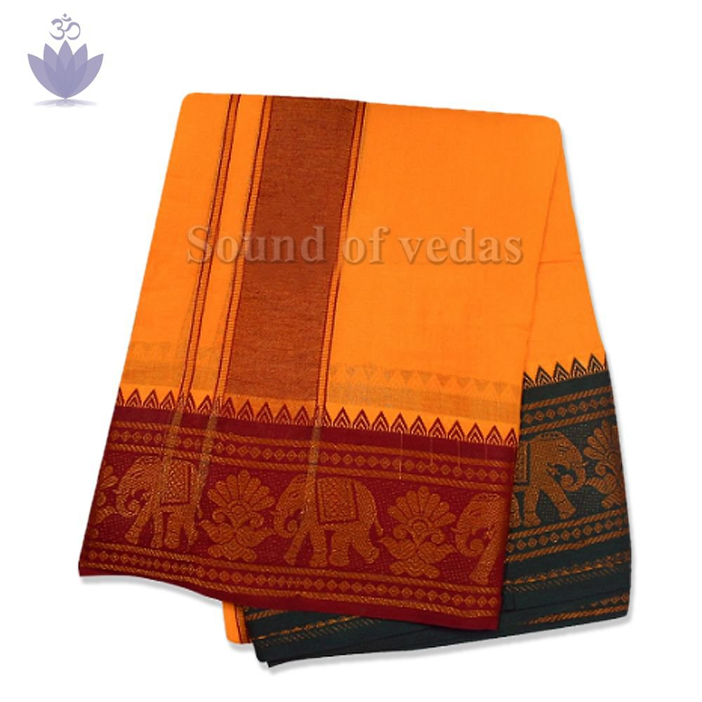 Cotton Dhoti with Shawl in Elephant Border