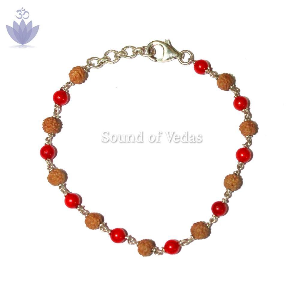 Red Coral with Rudraksha Bracelet