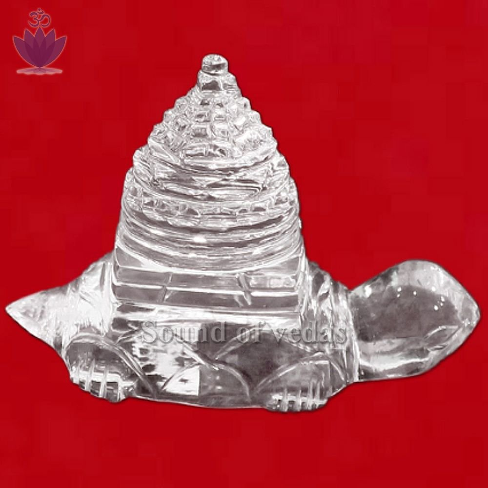 Meru Sri Chakra Carved on Kurma in Crystal