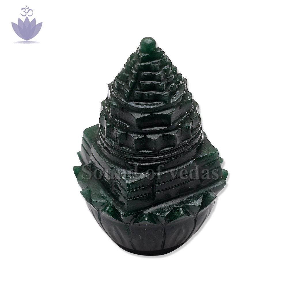Shree Yantra for Puja on Lotus in Green Jade - 120 grams