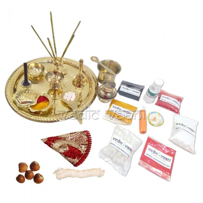 Vedant Divine Puja Thali with Fancy Thali Cover Online Store in USA/UK/Europe