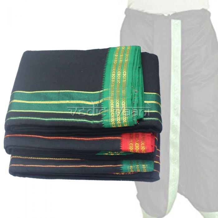 Dhoti (Veshti) and Angavastram - Black Color Buy Online in USA/UK/Europe