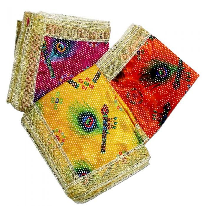 Ganesh Shawl/Rumal Cloth in Peacock Flute Feather colourful Print Online Store in USA/UK/Europe