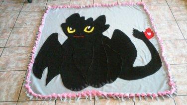handmade fleece blanket toothless throw size