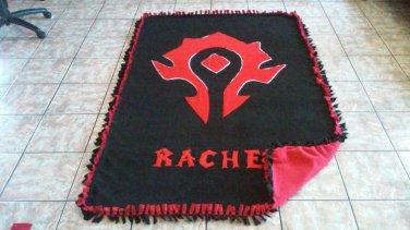 handmade fleece blanket horde from world of warcraft