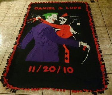 handmade fleece blanket adult size of inspired joker and harley quinn