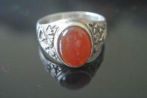 Turkish Agate Bohemian Ottoman Size 10 925 Sterling Silver Men's Ring