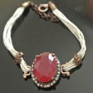 Turkish 5 Carat Big Ruby Ottoman Bronze Charm Leather Cord Bracelet 8 inches