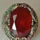 Turkish 5 Ct  Ruby with Emerald 925 Sterling Silver Size 8 Hurrem Flower Ring