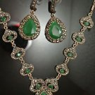 Turkish Costume Vintage Bohemian Victorian 4 Ct Emerald Black CZ Jewelery Set