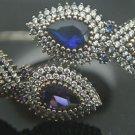 Turkish Handmade Vintage 1 Ct Sapphire & Amethyst CZ 925 Silver Bangle Bracelet