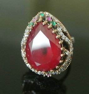 925 Sterling Silver Size 8.5 Turkish 5 Carat Pear Ruby CZ Sultan Vintage Ring