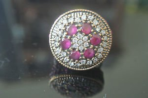 Turkish 0.3 Carat Ruby Ottoman Victorian Style 925 Silver Size 6 Adjustable Ring