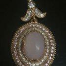 Ottoman Victorian Style 4 Carat Pink Quartz 925 Silver Cocktail Vintage Pendant