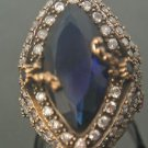 Turkish 3 Ct Pear Sapphire Ottoman Handmade Size 7.5 925 Vintage Silver Ring