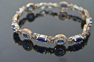 Ottoman Victorian 0.50 Carat Sapphire 925 Silver Hurrem SULTAN Tulip Bracelet