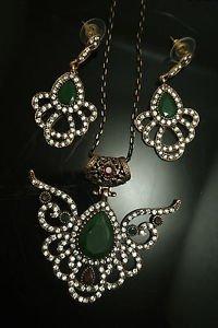 Turkish Costume Vintage Ottoman Victorian 4 Ct Pear Emerald CZ Jewelery Set