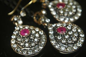 Turkish Ottoman Style Tulip Flower 0.25 Carat Pear Ruby CZ Jewelery Bronze Set