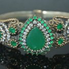 Turkish Ottoman Handmade Vintage 3 Carat Emerald CZ 925 Silver Bangle Bracelet