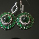 TURKISH OTTOMAN VICTORIAN 925 STERLING SILVER 5 CT ROUND EMERALD FLOWER EARRINGS