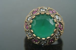 Turkish 5 Ct Round Emerald Size 8 Victorian 925 Sterling Silver Sultan Boho Ring
