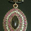 Ottoman Victorian Style 4 Carat Ruby 925 Silver Flower Hurren Diagonal Pendant