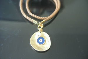 No Stone Designer Inspired Deep Blue Gold Plated Evil Eye Brown Leather Pendant