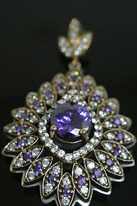 TURKISH VICTORIAN 925 STERLING SILVER 2 CT ROUND AMETHYST DANGLE COCTAIL PENDANT