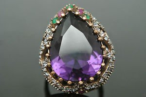 Turkish 5 Ct Pear Amethyst Vintage 925 Sterling Silver Size 8.5 Coctail Ring