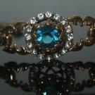 Turkish 2 Carat Aquamarine CZ Ottoman Victorian Charm Bronze Bohemian Bracelet