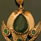 Turkish 6.0 Carat Emerald Ottoman Victorian Style Bronze AS-IS Necklace