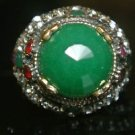 Turkish 6 Carat Emerald Ottoman Bronze Size 8 Unisex Sultan's Cocktail Boho Ring