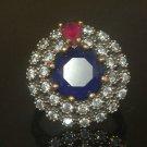 Turkish 2.5 Ct Round Sapphire Ottoman Handmade Size 7.75 925 Vintage Silver Ring