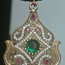 Ottoman Victorian Style 3 Carat Emerald 925 Silver Hurrem Roxelana Boho Pendant