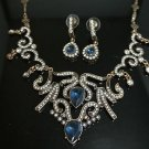 TURKISH VINTAGE COSTUME OTTOMAN SULTAN 2.5 CT SAPPHIRE RHINESTONE SILVER MIX SET